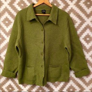 Eileen Fisher Pea Green Boiled Wool Sweater Coat